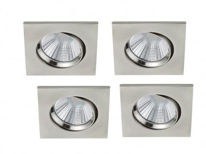4er Set LED Einbaustrahler Decke eckig schwenkbar dimmbar Nickel matt 5, 5W