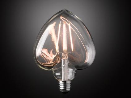 FILAMENT LED Leuchtmittel Herzform 4 Watt, 300 Lumen, 1800 Kelvin, E27-Sockel - Vorschau 4
