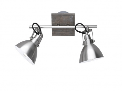 Deckenlampe mit 2 schwenkbaren Spots, Vintage Look Metall Nickel matt holzfarbig - Vorschau 2