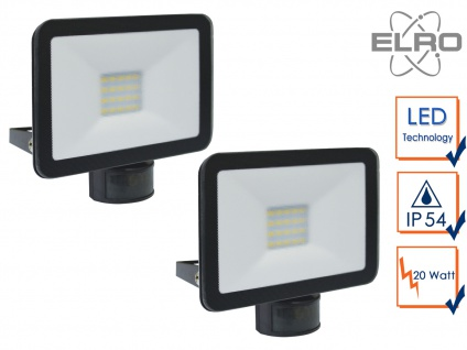2 LED Strahler Fluter schwarz 20W Bewegungmelder 6m Scheinwerfer Wandstrahler