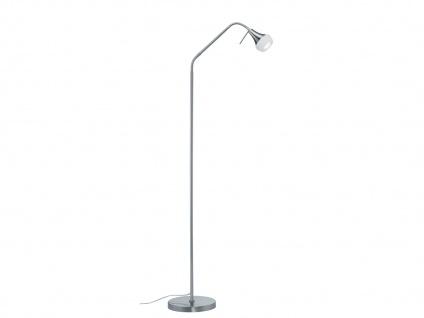 Flexible Stehlampe Trumpet mit Fußschalter, Metall Nickel matt & Glas weiß, E14