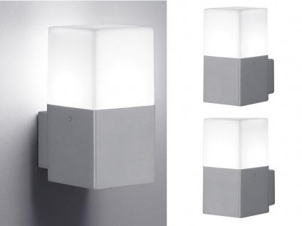 Eckige LED Außenwandlampe Titanfarben 2er SET Außenleuchten Terrassenbeleuchtung