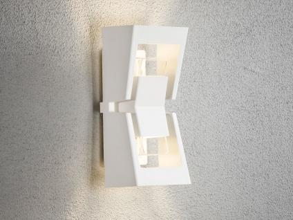 Dimmbare LED Außenwandleuchte Up-/Down Aluminium weiß, austauschbares LED Modul