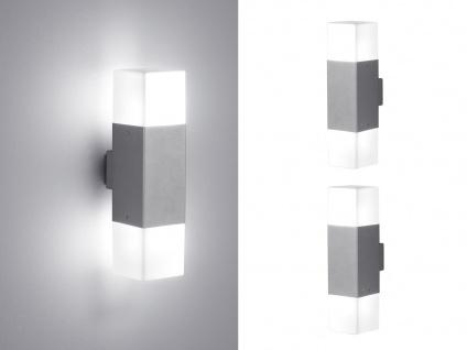 LED Außenwandlampen Hell Grau 2er SET Außenleuchte Terrassenbeleuchtung Hauswand