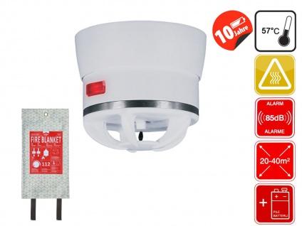 Brandschutz Set: Mini Wärmemelder & 120x120cm Design Feuerlöschdecke weiß / grün