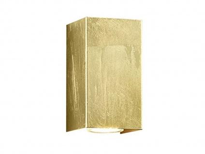 Up & Down Wandlampe rechteckig in gold foliert 15 x 8 x 8cm, modernes Flurlicht