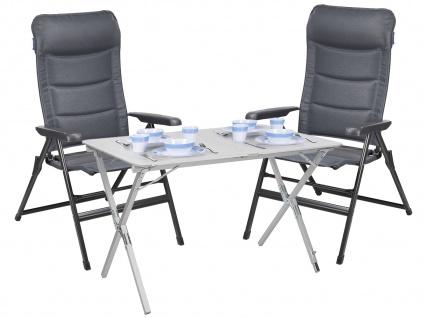 Set: Campingstühle und Tisch - stabiler Alu Rolltisch mit 2 Klappstühlen in grau