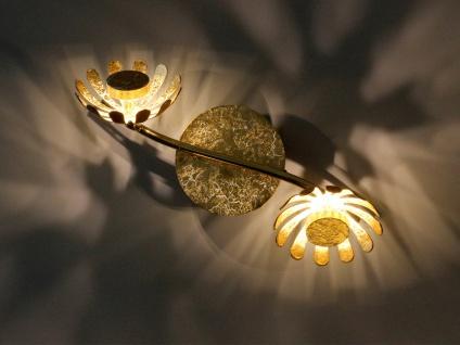 Zweiflammige florentiner Blumen Motiv LED Deckenleuchte aus Metall in Blattgold