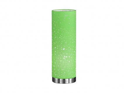 Kleine LED Tischlampe chrom mit Lampenschirm Stoff grün, Nachttischlampe Design