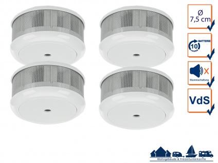 4er-Set Mini 10-Jahres Rauchwarnmelder VDS & DIN EN14604/ Maße nur 75 x 35 mm