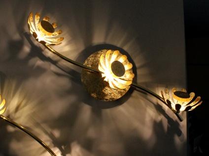 Dreiflammige florentiner Blumen Motiv LED Deckenleuchte aus Metall in Blattgold