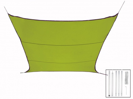 Sonnensegel Quadratisch Grün 3, 6m mit Stangenset für Garten Sonnenschutzsegel