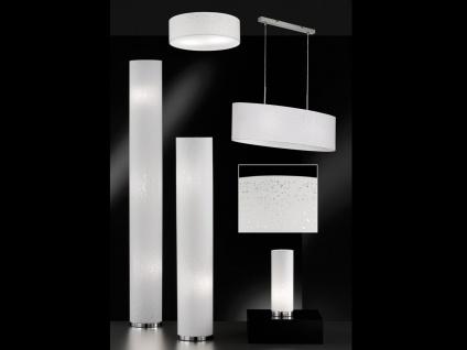 Kleine Tischlampe E14 Chrom mit Lampenschirm Stoff weiß, Nachttischlampe Design - Vorschau 5