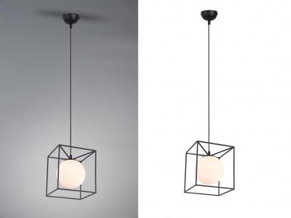 Pendelleuchte Industrie Design mit Metallcorpus in schwarz und weißer Glaskugel - Vorschau 3