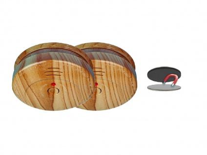 2er SET Rauchmelder Holzoptik 5 Jahres Batterie & Magnetbefestigung, Feueralarm - Vorschau 2