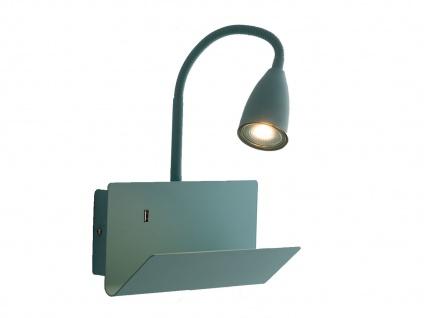 Flexible USB LED Leselampe Grün, Wandleuchte mit Schalter, Ablage & Ladefunktion - Vorschau 2