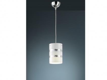 Dimmbare Pendelleuchte mit Glas Lampenschirm Ø14cm in weiß/silber - Flurlampe