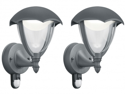 LED Außenwandlampe 2er Set Außenlaterne mit Bewegungsmelder Terrassenbeleuchtung