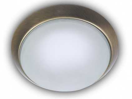Design Deckenleuchte rund Ø25cm Glas sainiert Zierring Altmessing Büroleuchte