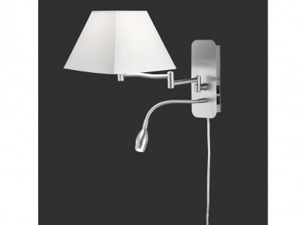 Wandleuchte Stoffschirm eckig weiß mit Leselampe & Stecker Wandlampen fürs Bett