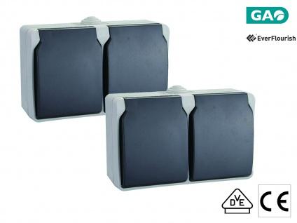 2er-Set 2fach Schutzkontaktsteckdosen mit Deckel Feuchtraum + Außen, 2-polig