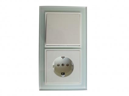 Hochwertige Schalter-Steckdosen-Kombi inkl. Echtglas Rahmen, GAO