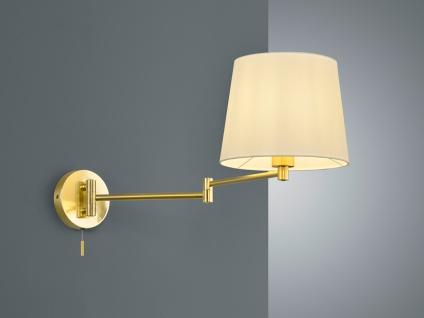 Große schwenkbare Wandlampe Textilleuchte mit flexiblem Lesearm und zugschalter