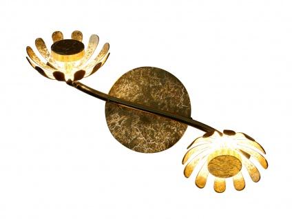 Zweiflammige florentiner Blumen Motiv LED Deckenleuchte aus Metall in Blattgold - Vorschau 5