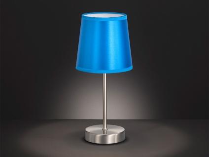 Tischleuchte mit Textil Schirm blau glänzend Ø 14cm mit LED - Schlafzimmerlampen
