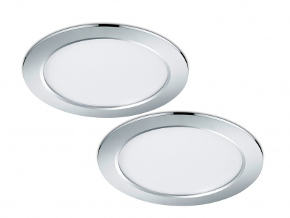 LED Einbaustrahler Decke 2er Set rund dimmbar Chrom glänzend 18W Deckenleuchten