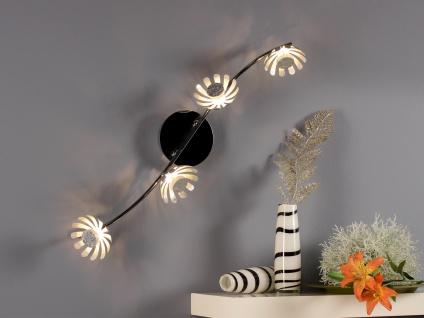 Vierflammige florentiner Blumen Motiv LED Deckenlampe aus Metall in Blattsilber - Vorschau 1