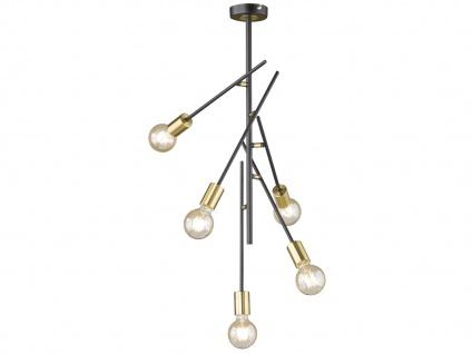 Retro Desing Deckenleuchte 5x LED Arme schwenkbar Schwarz/Gold - fürs Esszimmer