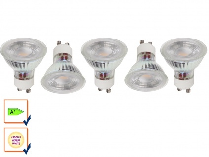 5er-Set LED Refklektor Leuchtmittel 5W warmweiß, 330 Lumen, GU10 PAR16