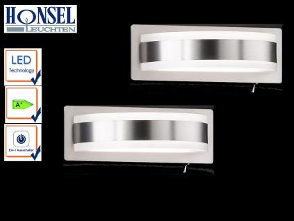 2er Set LED Wandleuchte mit Schalter Nickel matt Acrylglas weiß Designerlampe