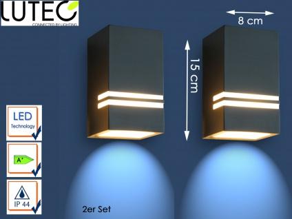 2er Set Edelstahl LED Außenwandleuchte H.15cm Downlight Fassadenbeleuchtung