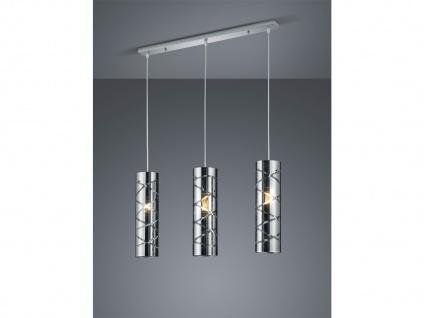 3 flammige Designer Pendelleuchte LED Lampenschirm Metall in Chrom mit Rauchglas