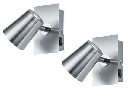 LED Wandstrahler 2er Set Nickel matt Spot schwenkbar 6W - Schlafzimmerleuchten