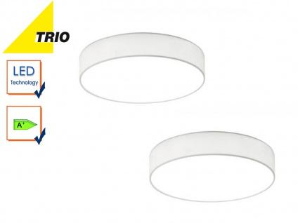 2er Set Trio LED Deckenleuchte LUGANO 30cm Stoff weiß, Flurlampe Wohnzimmerlampe