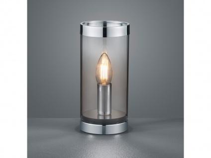 Ausgefallene LED Tischleuchte Zylinder Tischlampe Nachttischlampe Rauchglas