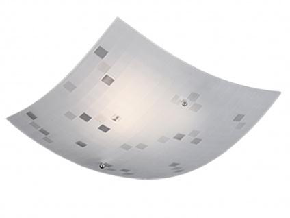 Eckige LED Deckenlampe 50x50cm, Glasschirm satiniert in weiß, grau gemustert - Vorschau 2