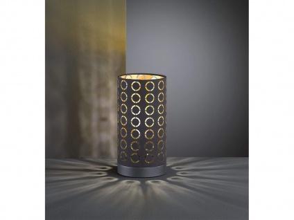 Coole Tischleuchte Zylinderform mit Stofflampenschirm schwarz/gold im Retro Look