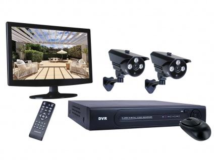 4-Kanal Überwachungssystem, 2 Kameras IP66, Monitor, Appsteuerung