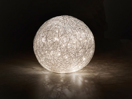 DESIGN LED Nachttischleuchte Kugel Lampenschirm Geflecht Optik Ø30cm - Flurlampe