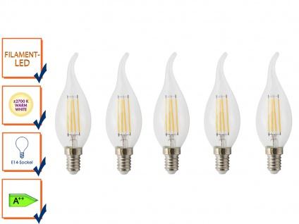 5er-Set FILAMENT-LED Kerze E14, 4 Watt, 400 Lumen, 2700 Kelvin, warmwei