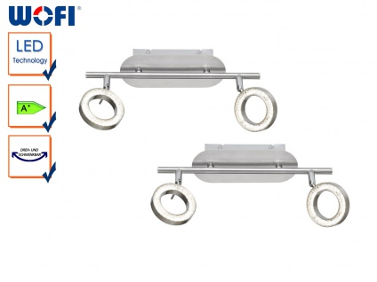 2er Set 2-flammige LED Deckenleuchte, Spots schwenkbar, Deckenstrahler Balken