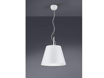 Coole LED Pendelleuchte mit rundem Stoffschirm Ø35cm in Weiß + Silber, Leuchte