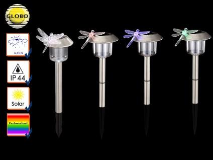 4Stk LED Solarleuchten Edelstahl mit Erdspieß und Farbwechsel, Erdspießleuchte
