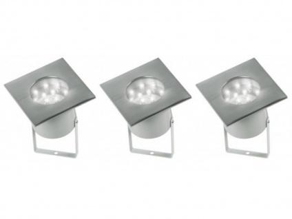 3er Set LED Bodeneinbauleuchte mit Erdspieß, auch Bodeneinbau, Gartenleuchte