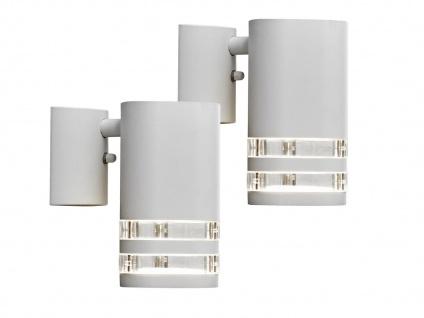 2er-Set Wandleuchten MODENA Aluminium weiß, Downlight, GU10, IP44
