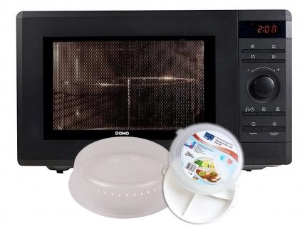 Mikrowelle mit Grill 36l inkl. 3-tlg. Starter-Set Mikrowellengeschirr 1000W Domo